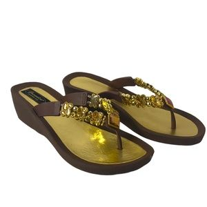 Grandco Brown Jeweled Mule Sandals 9